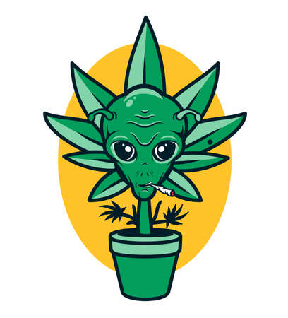 Cannabis in the Pot with Alien Face. Vector Illustration. 向量圖像