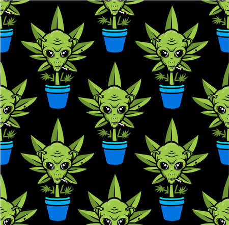 Alien Plant Seamless Pattern. Alien Smoking Weed Poster. Vector Illustration.