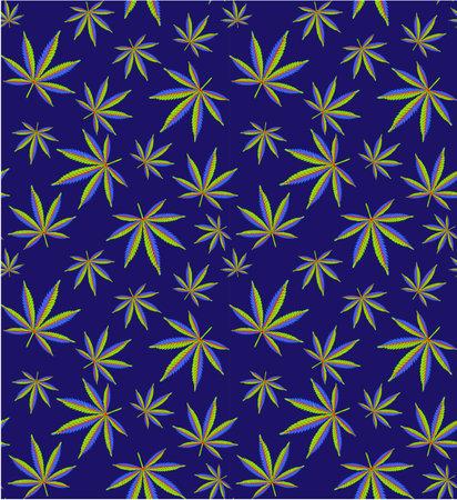 Cannabis Leaves Seamless Pattern. Cannabis Field. Vector Illustration.