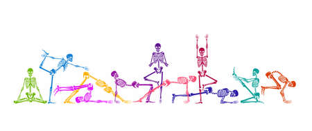 Skeletons in a yoga pose. Seamless pattern. Vector Illustration.