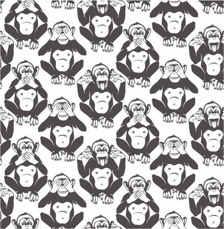 The three wise monkeys. Seamless Pattern. Vector Illustration.