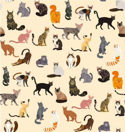 Colorful different cat breeds seamless pattern. Vector Illustration.