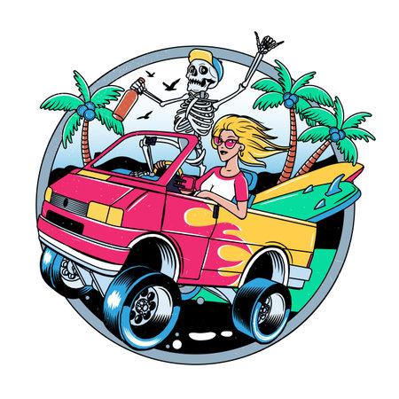 Surfing T-shirt Vector Designs. Surf Van with Crazy Skeleton and Blondie Girl. Vector Illustration.