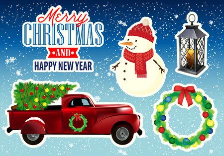 Merry Christmas Retro Car Collection. Vector Illustration. 版權商用圖片