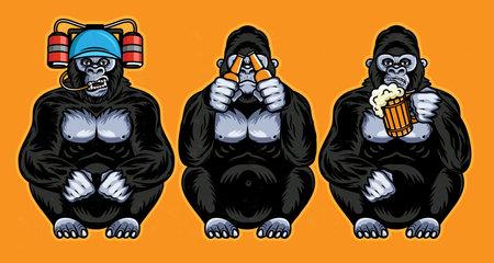 Three Wise Gorillas With Beer. Vector Illustration. 版權商用圖片