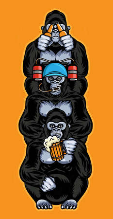 Totem With Three Wise Monkeys. Three Wise Gorillas Holding A Mug Of Beer, With Beer helmet and beer bottles.