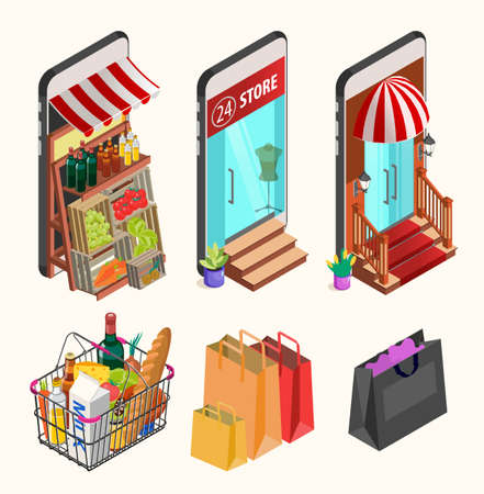 Online shopping concept. Isometric Smartphones Screen With Boutique, Market with Fresh Vegetables, a Department Store.