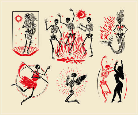 Skeletons Collection For T-shirt and Denim. Skeletons Dance, the skeleton of the Venus, the Mermaid, the Angel, and the Angel of Death. Vector Illustration.