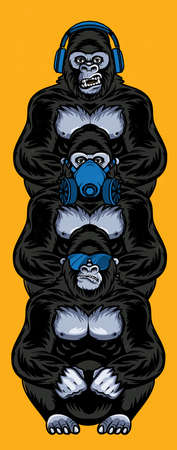 Three wise gorillas with respirator, glasses, headphones. Also called the Three Mystic Apes. Sees no evil, hears no evil, speaks no evil. 版權商用圖片