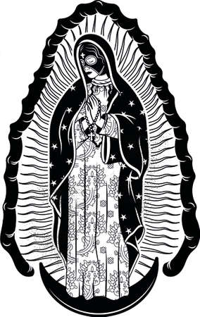 Virgin of Guadalupe with Mexican Lucha Libre Luchador Mask. The Virgin Mary Vector Poster Illustration.