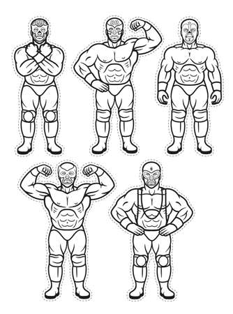Lucha Libre Characters. Mexican Wrestler Fighters in Mask. Vector Coloring Page.