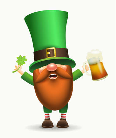 St. Patricks Day Irish gnome with clover and beer. Vector Leprechaun illustration for banner, decor, or invitation to the pub. Isolated on white background.