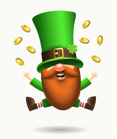 St. Patrick s Day Irish gnome with clover and beer. Vector Leprechaun illustration for banner, decor, or invitation to the pub. Isolated on white background. 向量圖像