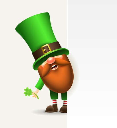 St. Patrick s Day Irish gnome with a blank signboard. Vector Leprechaun illustration for banner, decor, or invitation to the pub. Wide empty space for design.
