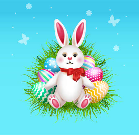 Happy Easter Illustration With Colorful Painted Eggs and Rabbit. Vector. 向量圖像