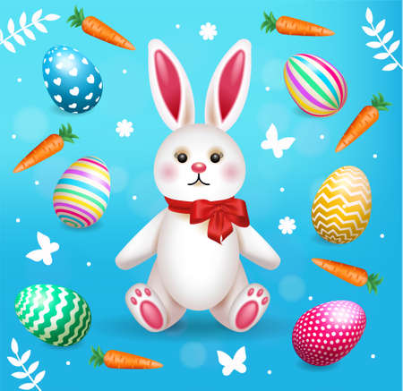 Happy Easter Illustration With Colorful Painted Eggs and Rabbit. Vector illustration for banner or decor.