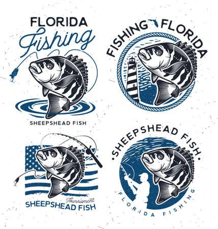 Vintage sheepshead fish emblems. and labels. Vector illustration.