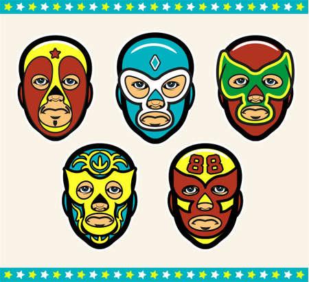 Mexican Lucha Libre Wrestling Masks. Vector Illustration. 向量圖像