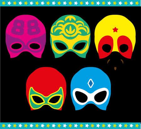 Mexican Lucha Libre Wrestling Masks. Luchador s Baby Shower Masks.Vector Illustration.