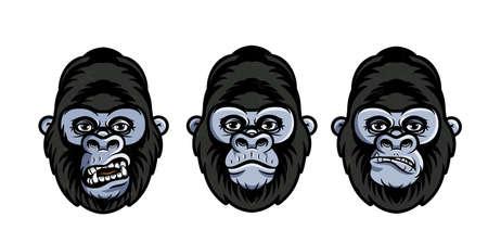 Facial expressions of gorilla. Faces of gorilla. Vector Illustration.