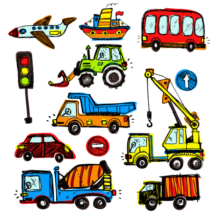 school baby: baby cars set. funny baby toys. vector doodle collection of hand drawn icons transport for baby