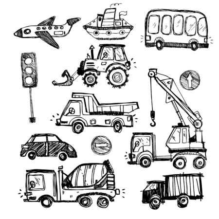 baby toys: baby cars set. funny baby toys. vector doodle collection of hand drawn icons transport for baby