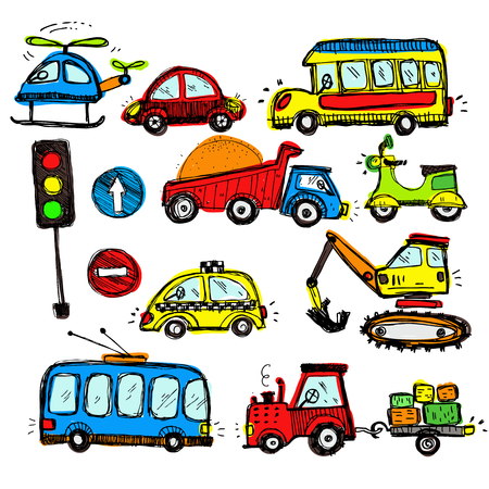 baby playing toy: baby cars set. funny baby toys. vector doodle collection of hand drawn icons transport for baby