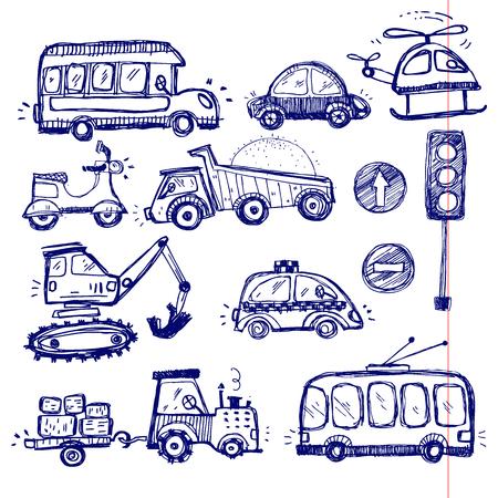barco caricatura: coches para beb�s fijados. juguetes divertidos del beb�. vector de recogida del doodle de dibujado a mano iconos de transporte para el beb�
