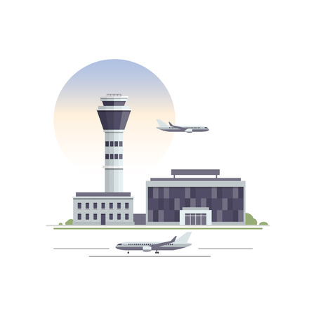 Airport building and airplanes. Orthogonal vector illustration.