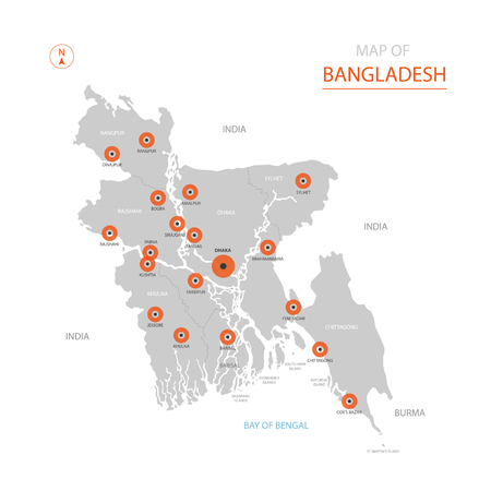 Stylized vector Bangladesh map showing big cities, capital Dhaka, administrative divisions. Illustration