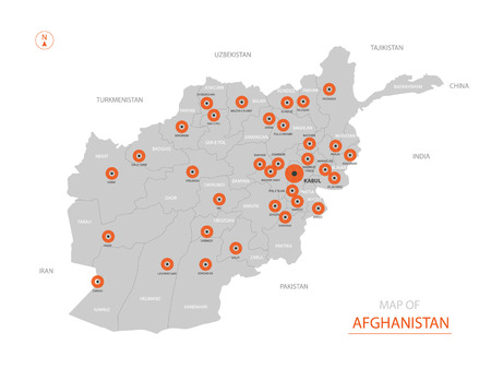 Stylized vector Afghanistan map showing big cities, capital Kabul, administrative divisions.