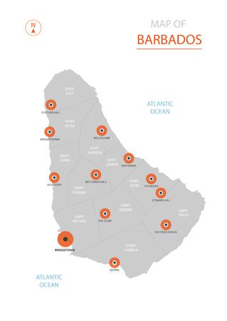 Carte vectorielle stylisée de la Barbade montrant les grandes villes, la capitale Bridgetown, les divisions administratives. Vecteurs