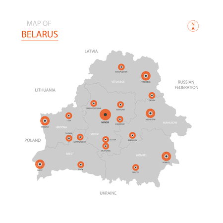 Stylized vector Belarus map showing big cities, capital Minsk, administrative divisions. Illustration