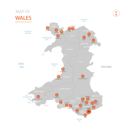 Stylized vector Wales map showing big cities, capital Cardiff, administrative divisions.