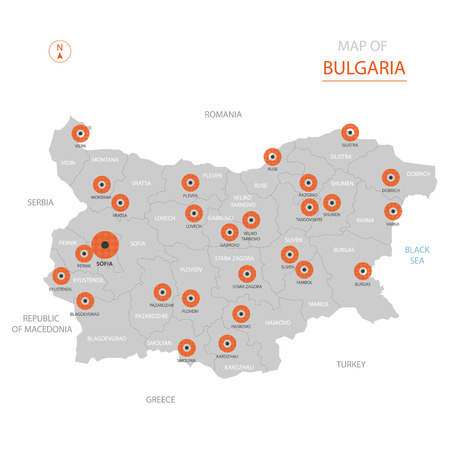 Stylized vector Bulgaria map showing big cities, capital Sofia, administrative divisions. Illustration
