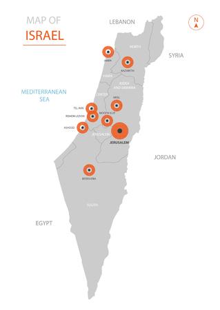 Mappa di Israele di vettore stilizzato che mostra grandi città, capitale Gerusalemme, divisioni amministrative e confini