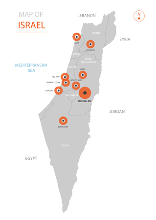 Stylized vector Israel map showing big cities, capital Jerusalem, administrative divisions and country borders
