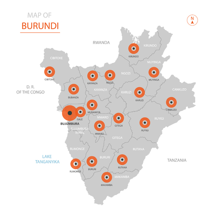 Stylized vector Burundi map showing big cities, capital Bujumbura, administrative divisions and country borders Illustration