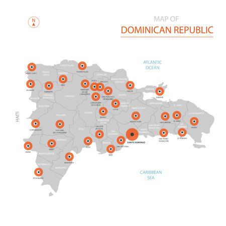 Carte vectorielle stylisée de République dominicaine montrant les grandes villes, la capitale Saint-Domingue, les divisions administratives et les frontières du pays Vecteurs