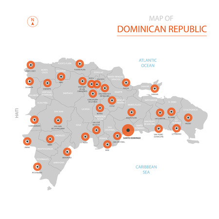 Stylized vector Dominican Republic map showing big cities, capital Santo Domingo, administrative divisions and country borders