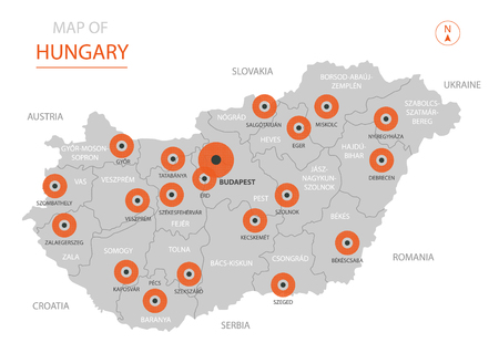 Stylized vector Hungary map showing big cities, capital Budapest, administrative divisions and country borders
