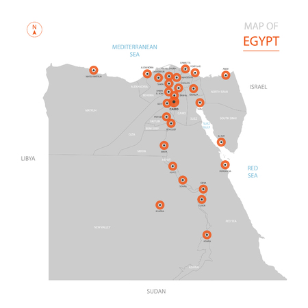 Stylized vector Egypt map showing big cities, capital Cairo, administrative divisions.