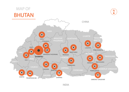 Stylized vector Bhutan map showing big cities, capital Thimphu, administrative divisions and country borders