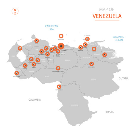 Stylized vector Venezuela map showing big cities, capital Caracas, administrative divisions and country borders