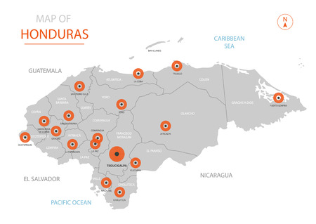 Stylized vector Honduras map showing big cities, capital Tegucigalpa, administrative divisions and country borders Illustration