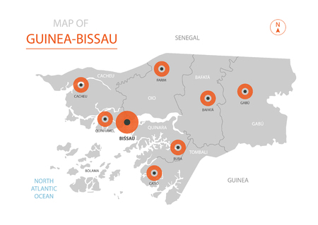 Stylized vector Guinea-Bissau map showing big cities, capital Bissau, administrative divisions and country borders