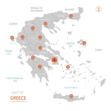 Stylized vector Greece map showing big cities, capital Athens, administrative divisions and country borders Illustration