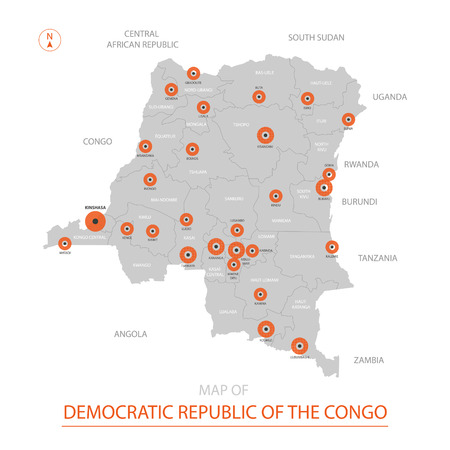 Stylized vector Democratic Republic of the Congo map showing big cities, capital Kinshasa, administrative divisions.