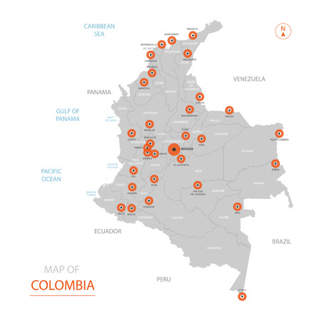 Stylized vector Colombia map showing big cities, capital Bogota, administrative divisions.