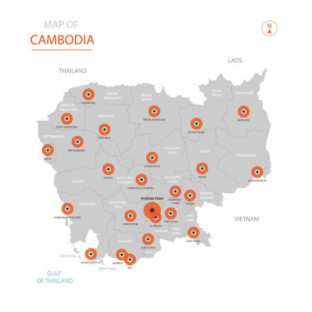 Stylized vector Cambodia map showing big cities, capital Phnom Penh, administrative divisions and country borders